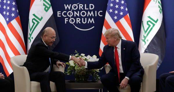 عراقی صدر کی امریکی ہم منصب ڈونلڈ ٹرمپ سے ملاقات، عراق سے غیرملکی فوجیوں کے انخلاء پر تبادلہ خیال